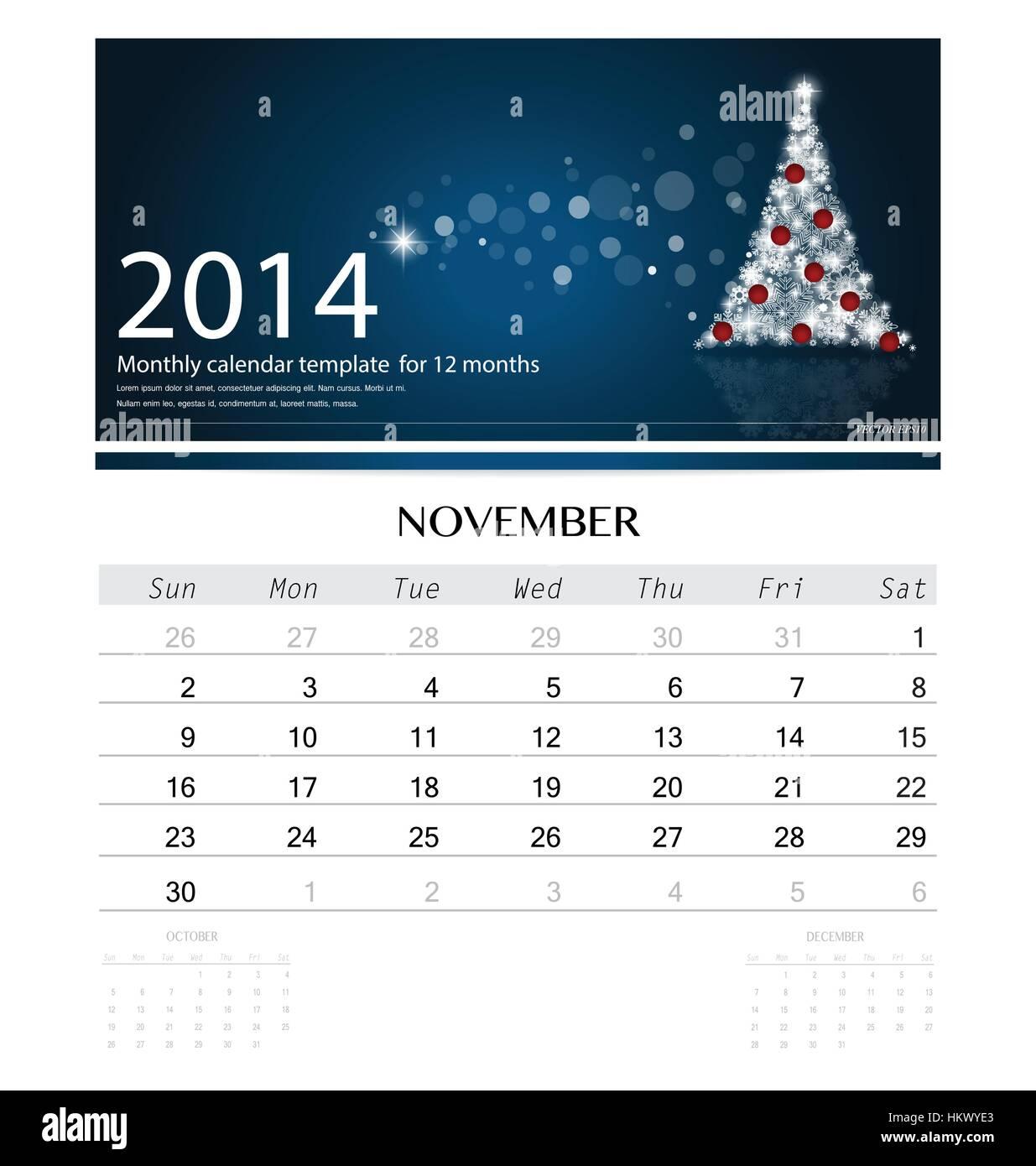November 2014 Calendar Tag Design Stock Photos November 2014