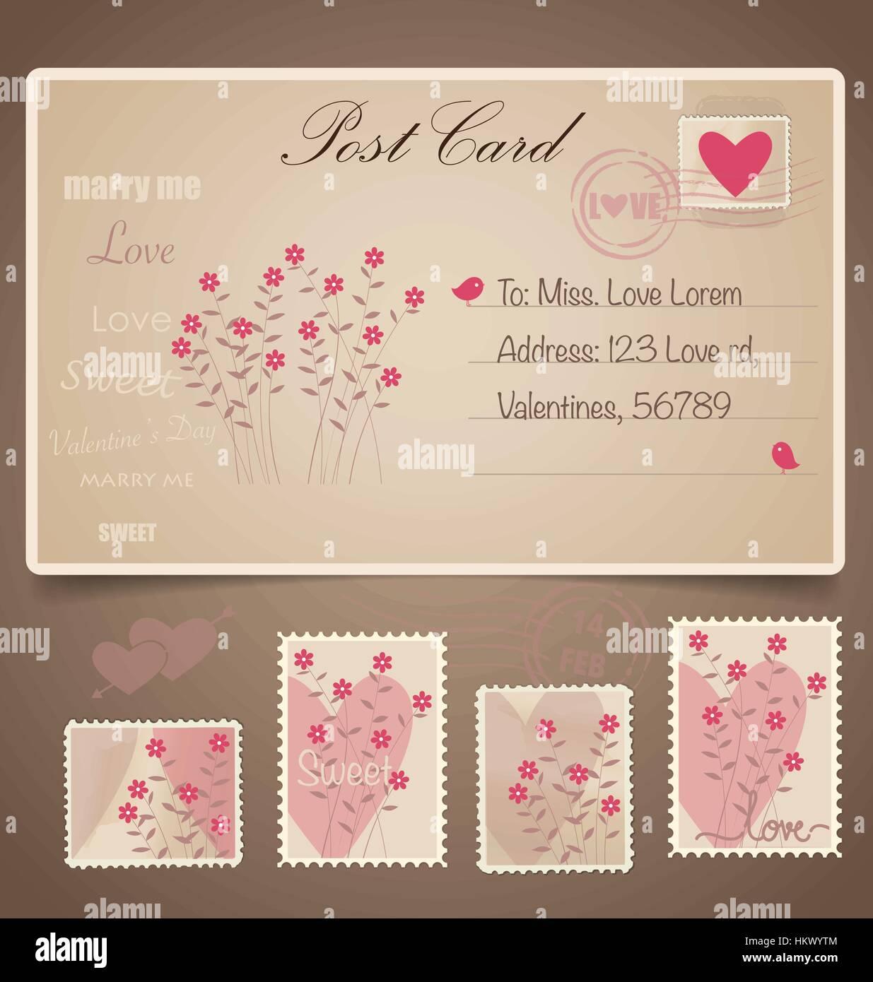 Vintage Postcard Background And Postage Stamps For Wedding