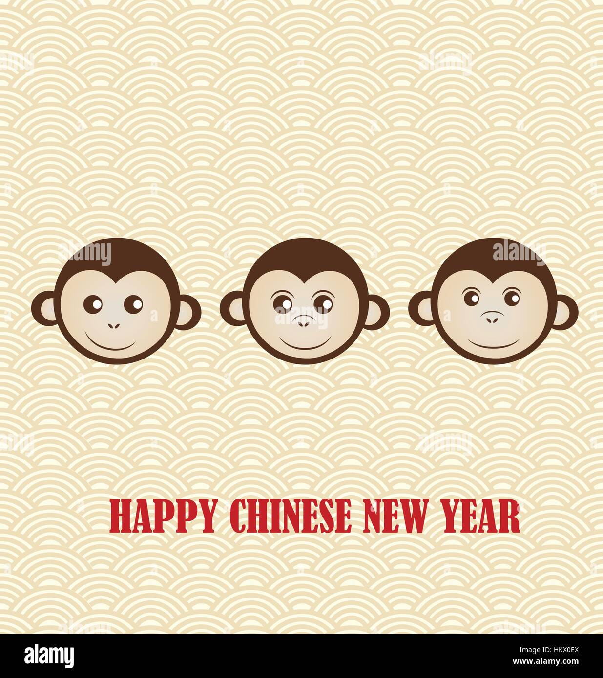 chinese new year design with cute monkeys background