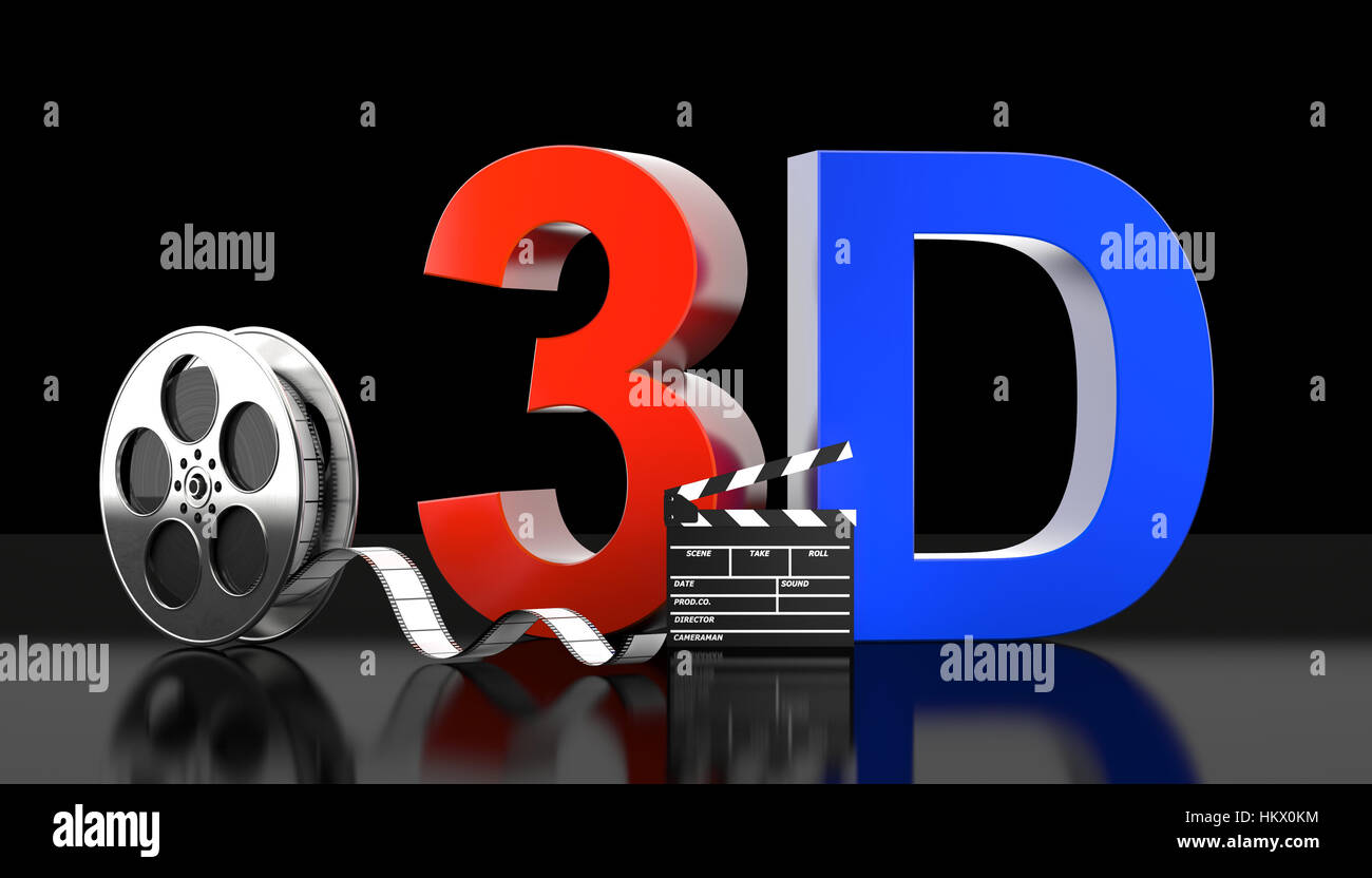 cinema 3d concept 3d rendering image - Stock Image