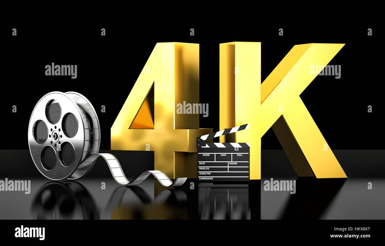 cinema 4k concept 3d rendering image - Stock Image