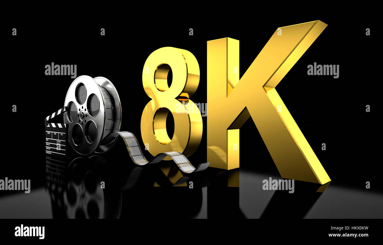 cinema 8k concept 3d rendering image - Stock Image