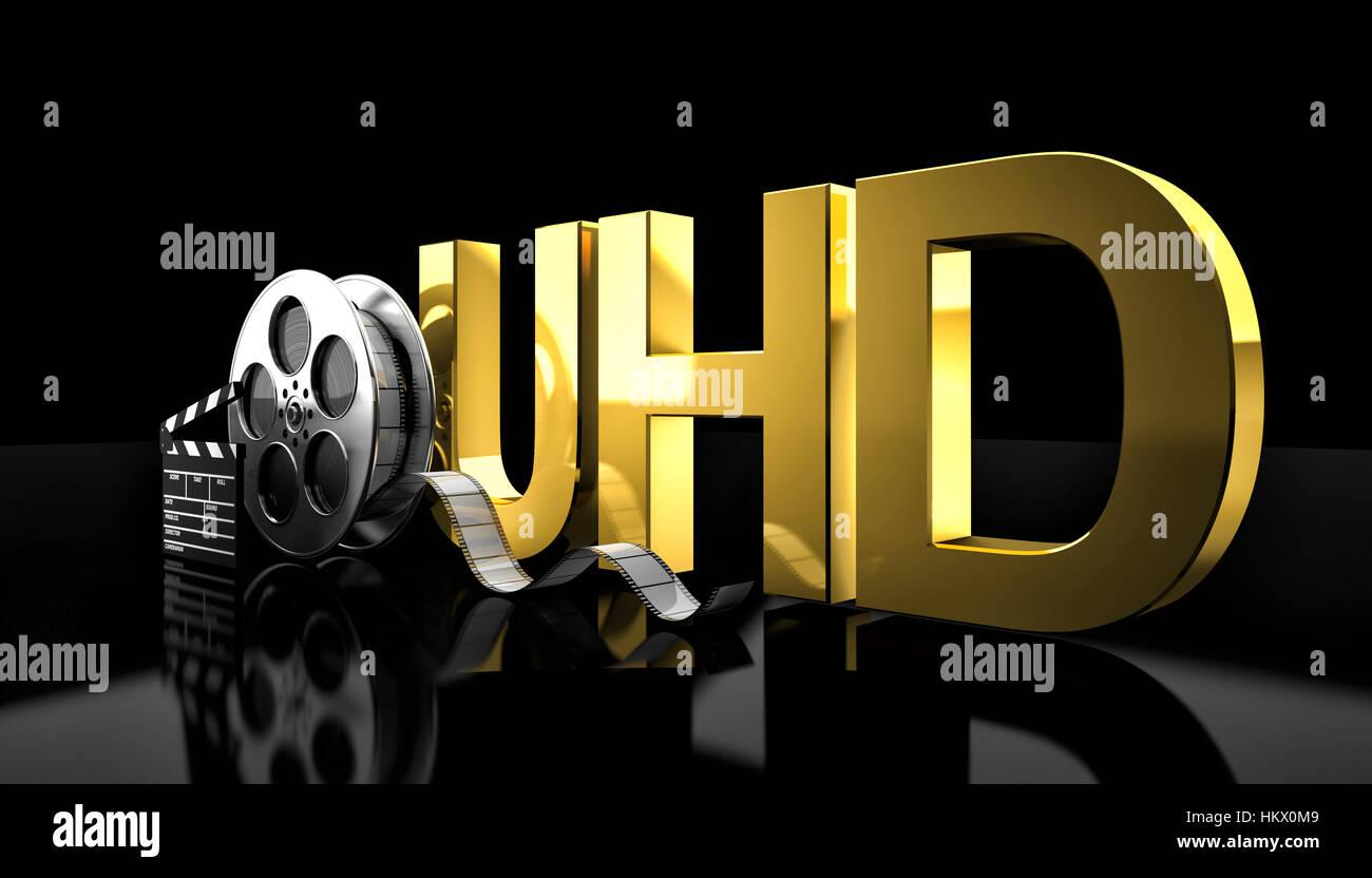 cinema uhd concept 3d rendering image - Stock Image