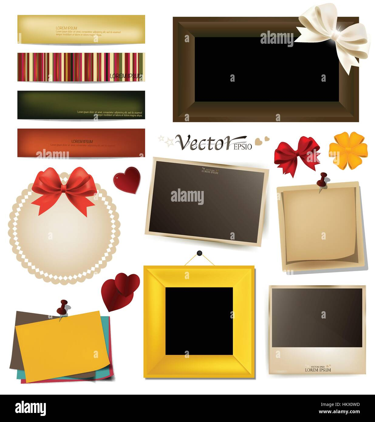 Collection of vintage photo frames, frames and paper on a white background. Template for the design in the style - Stock Vector