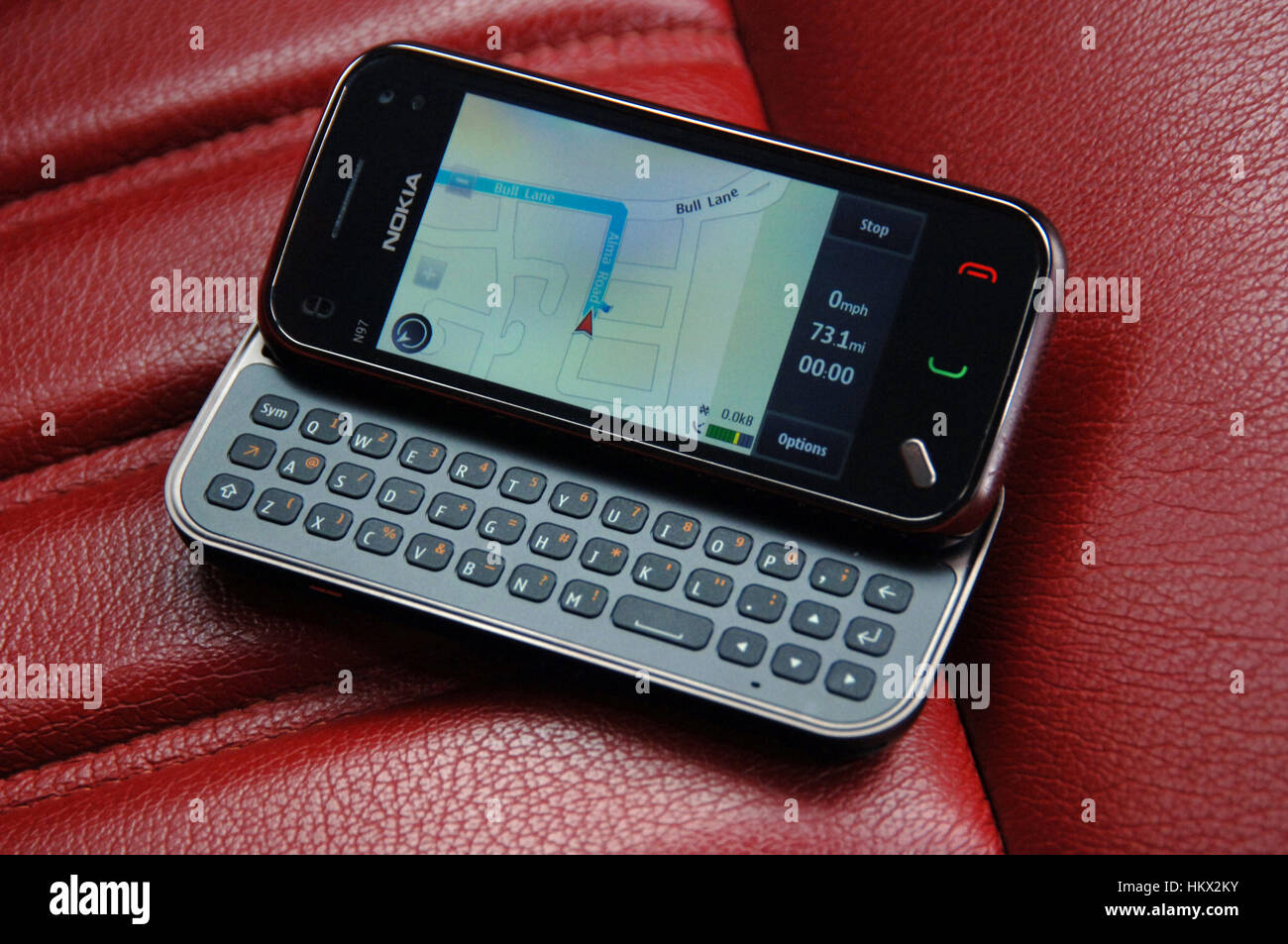 Sat nav on a Nokia mobile phone in 2010 - Stock Image