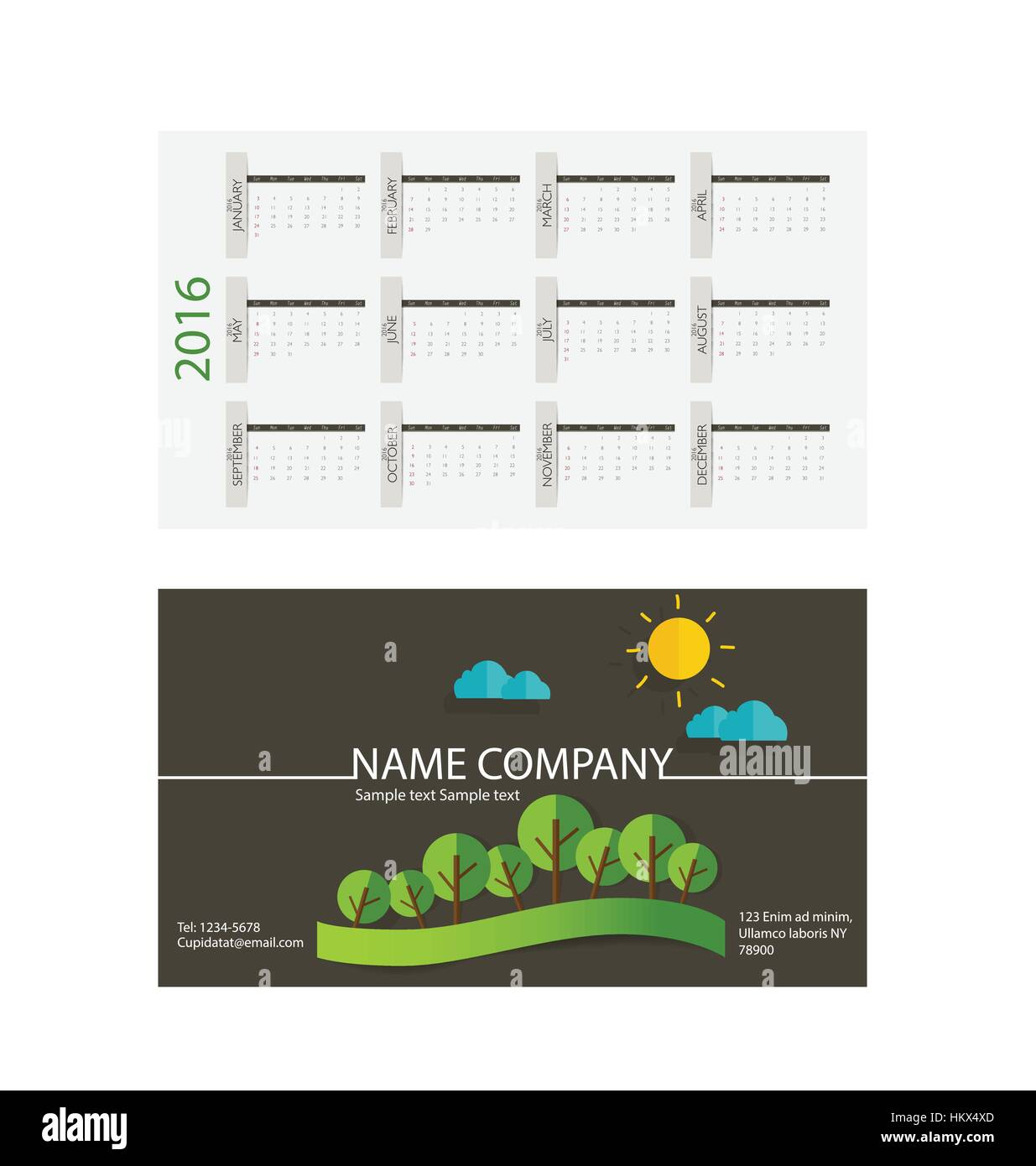 2016 calendar modern business card template with nature background 2016 calendar modern business card template with nature background vector illustration reheart Images
