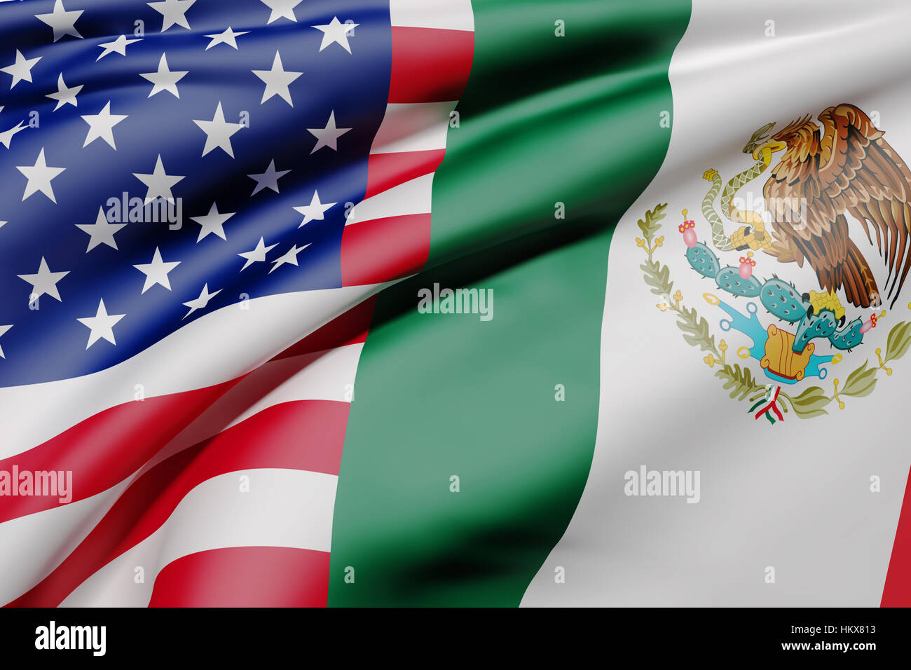 3d rendering of an United States of America and Mexico flag waving - Stock Image