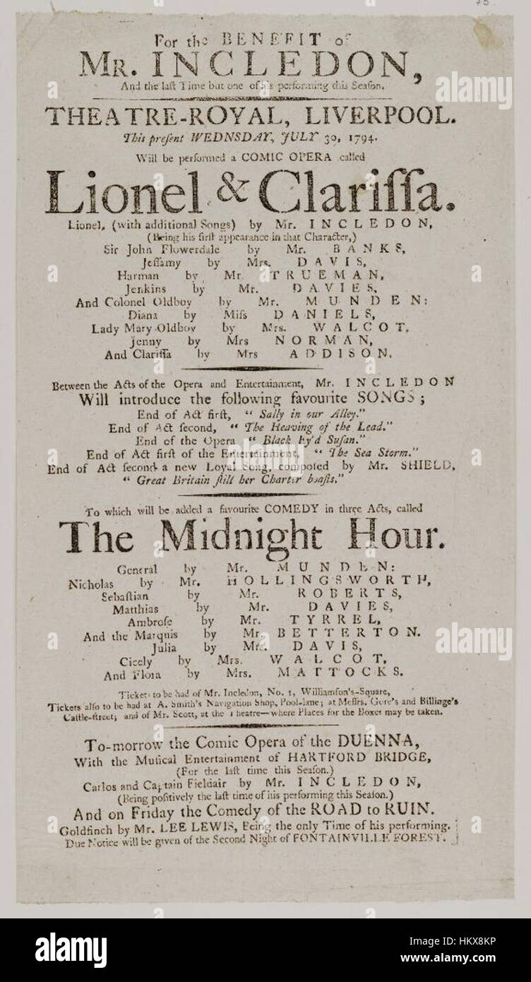 Bodleian Libraries Playbill Theatre Wednesday Stock Photos
