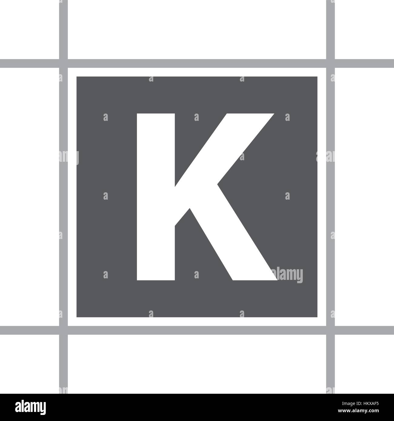 Letter K In Box - Stock Image