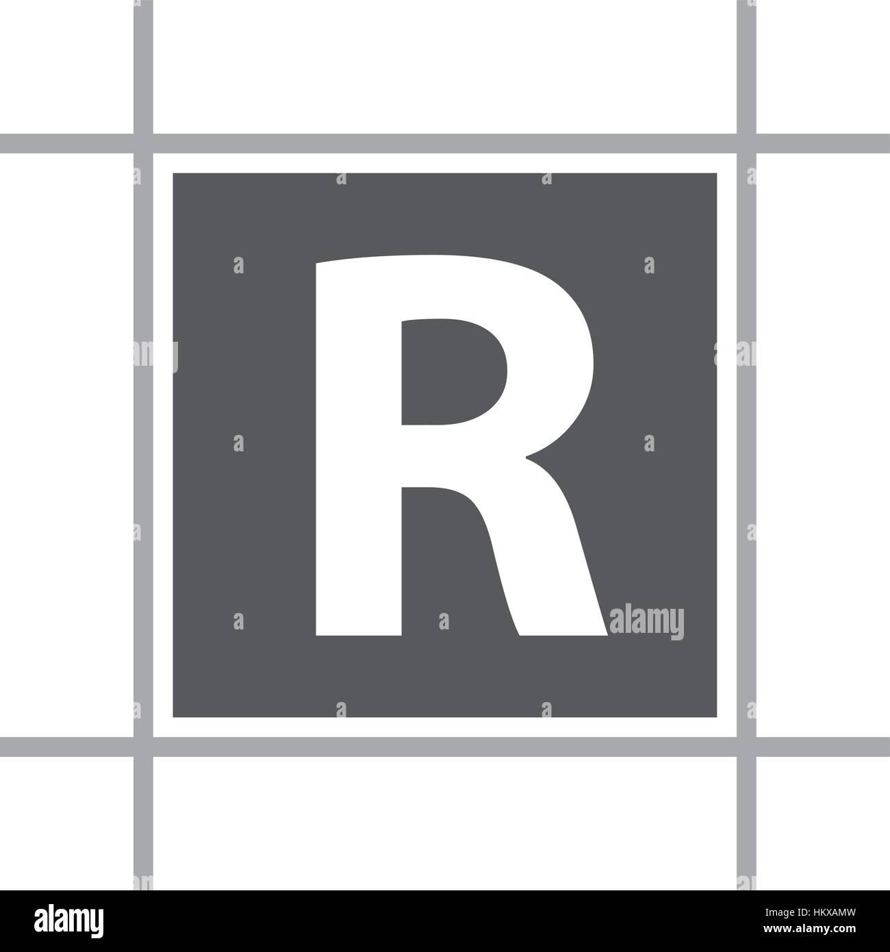 Letter R In Box Stock Vector Art & Illustration, Vector Image