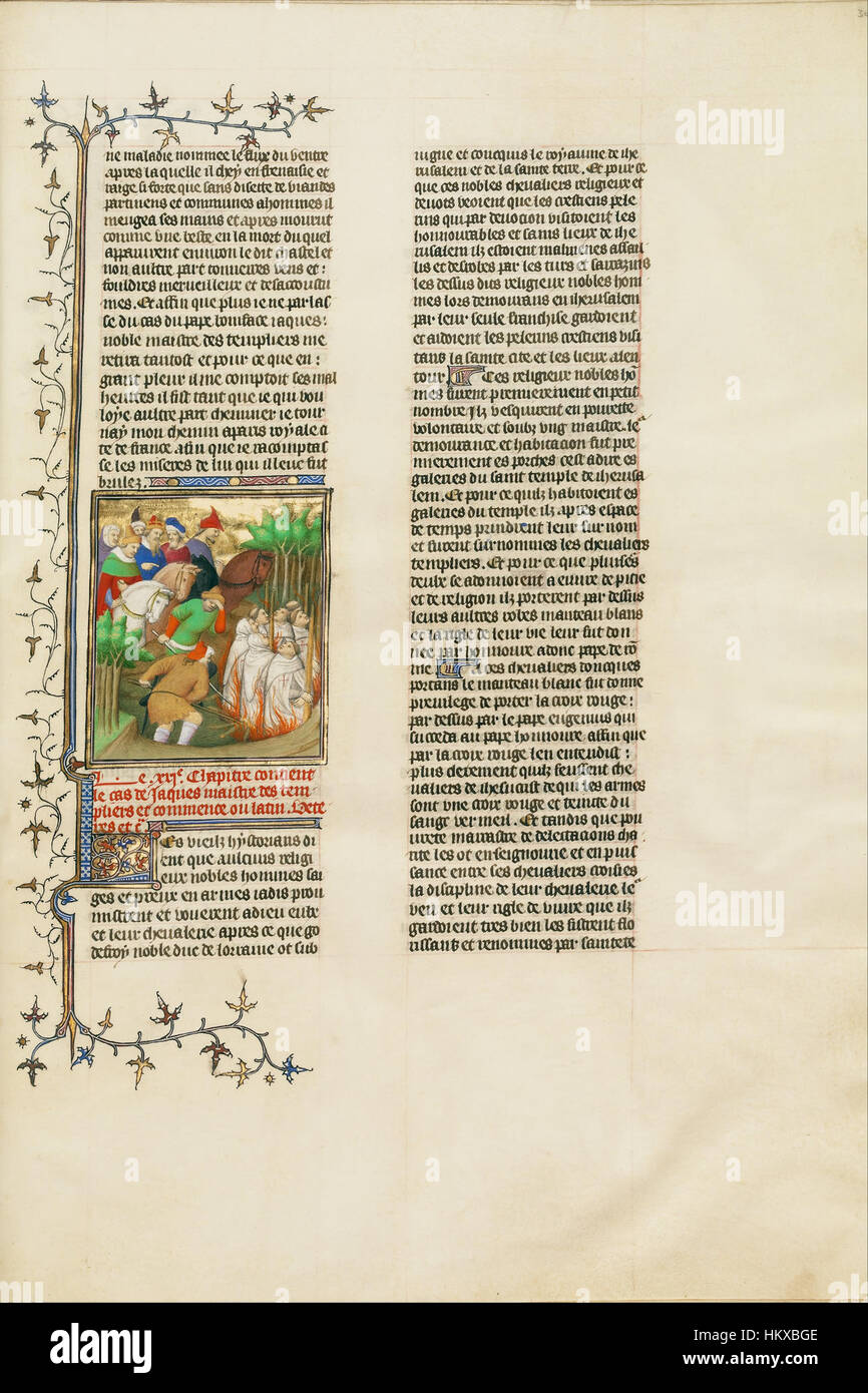 Boucicaut Master Illuminator (French, active about 1390 - 1430) - The Knights Templar Burned in the Presence of - Stock Image