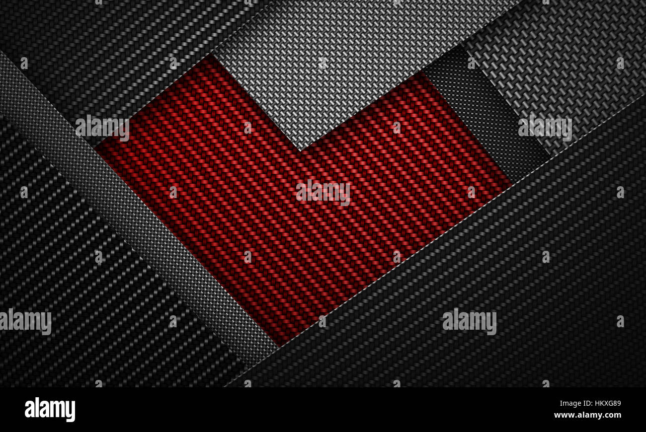 abstract modern red black carbon fiber textured material design in