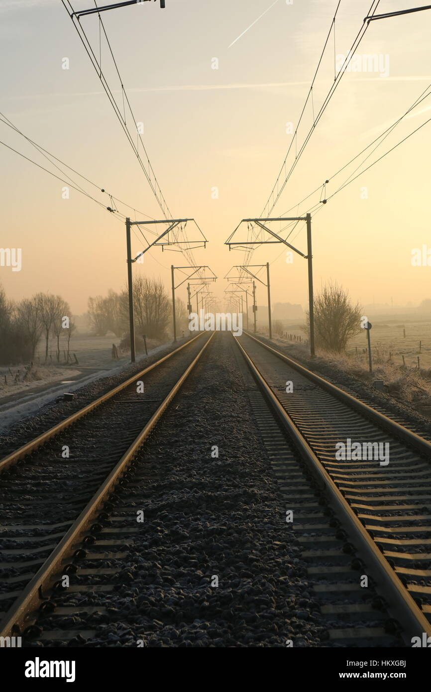 dimminshing persective trainrails - Stock Image