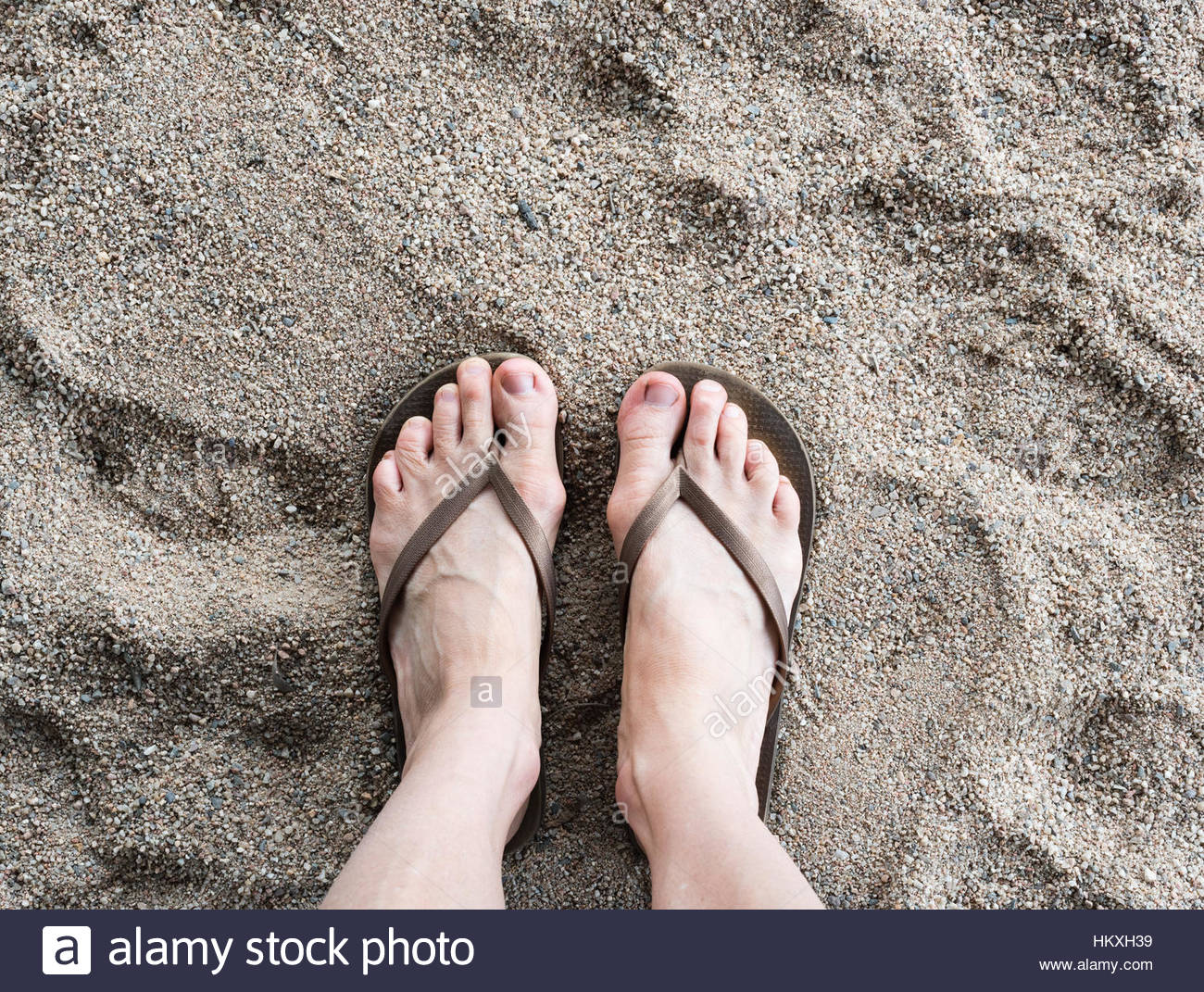 d57871baea3a4 High angle view of middle aged woman s feet in thongs on grainy sand - Stock  Image
