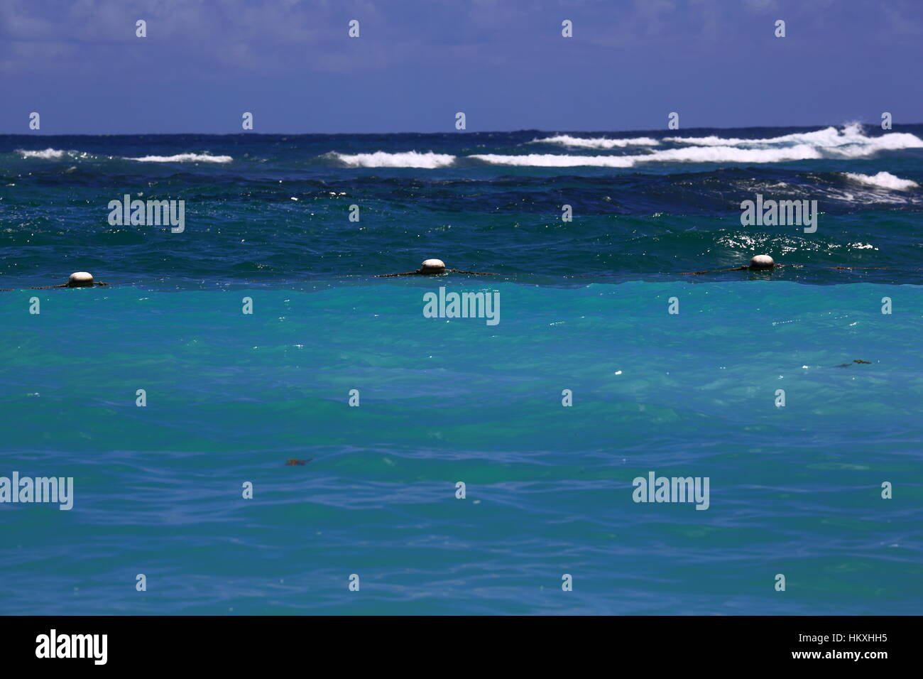 Indian Ocean with waves coming into shore, riptides. - Stock Image