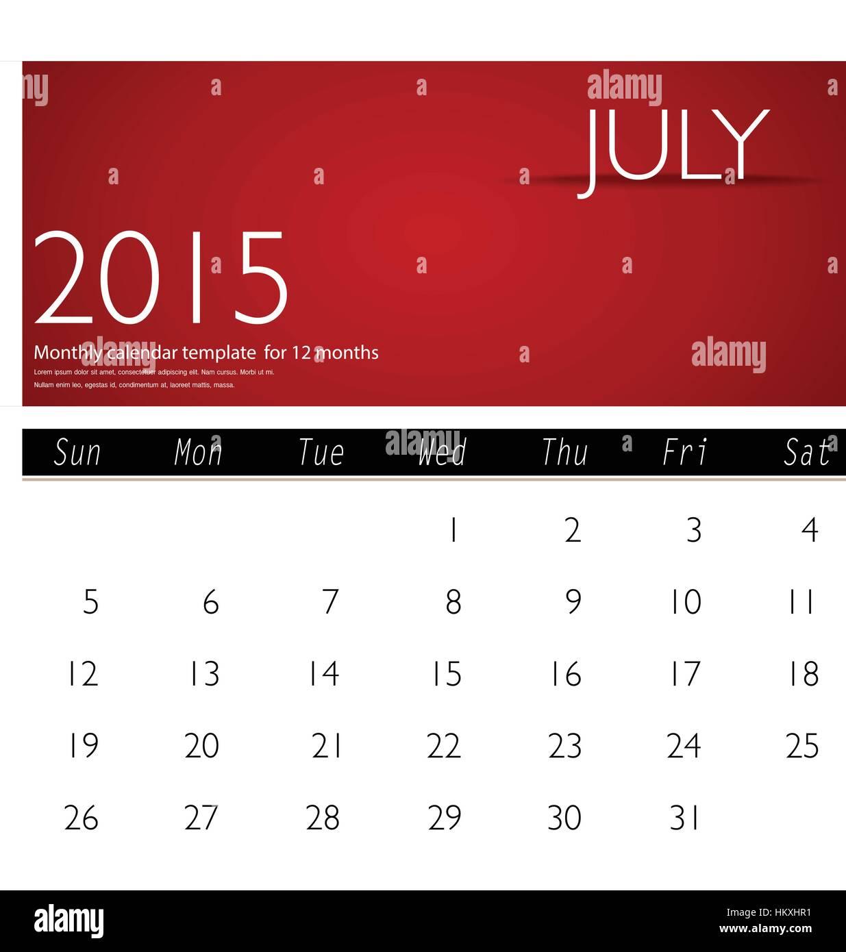 simple 2015 calendar july vector illustration