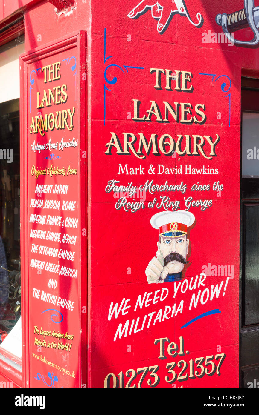The Lanes Armoury militaria shop, Meeting House Lane, The Lanes, Brighton, East Sussex, England, United Kingdom - Stock Image