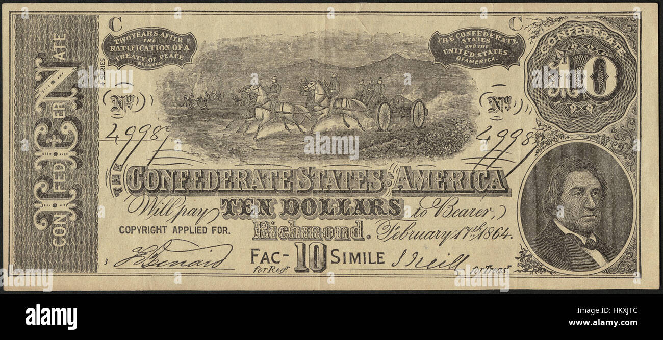 The Confederate States of America ten dollars - $10,000 worth of premiums! To be given away with Dr. Seth Arnold's - Stock Image