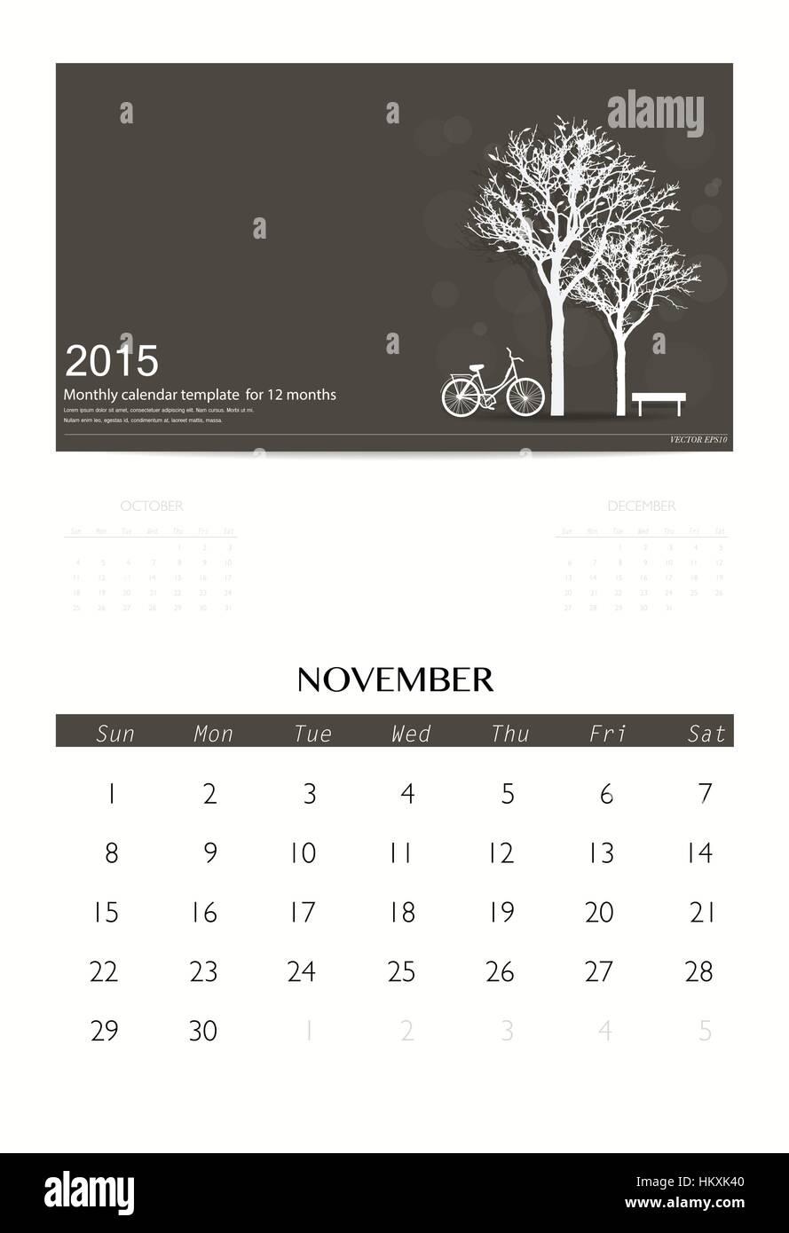 month calendar template 2015