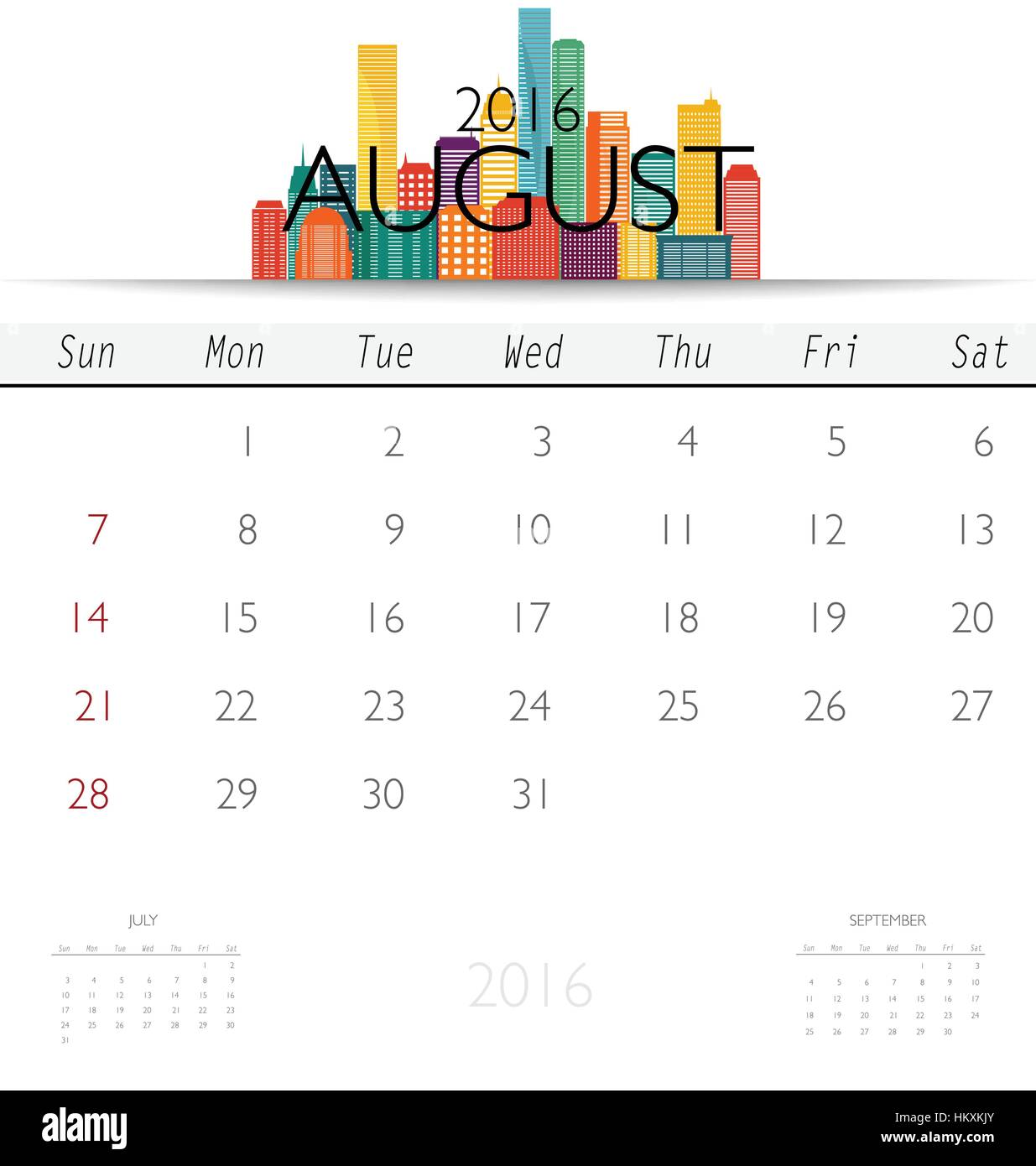 2016 calendar with creative building design template monthly stock