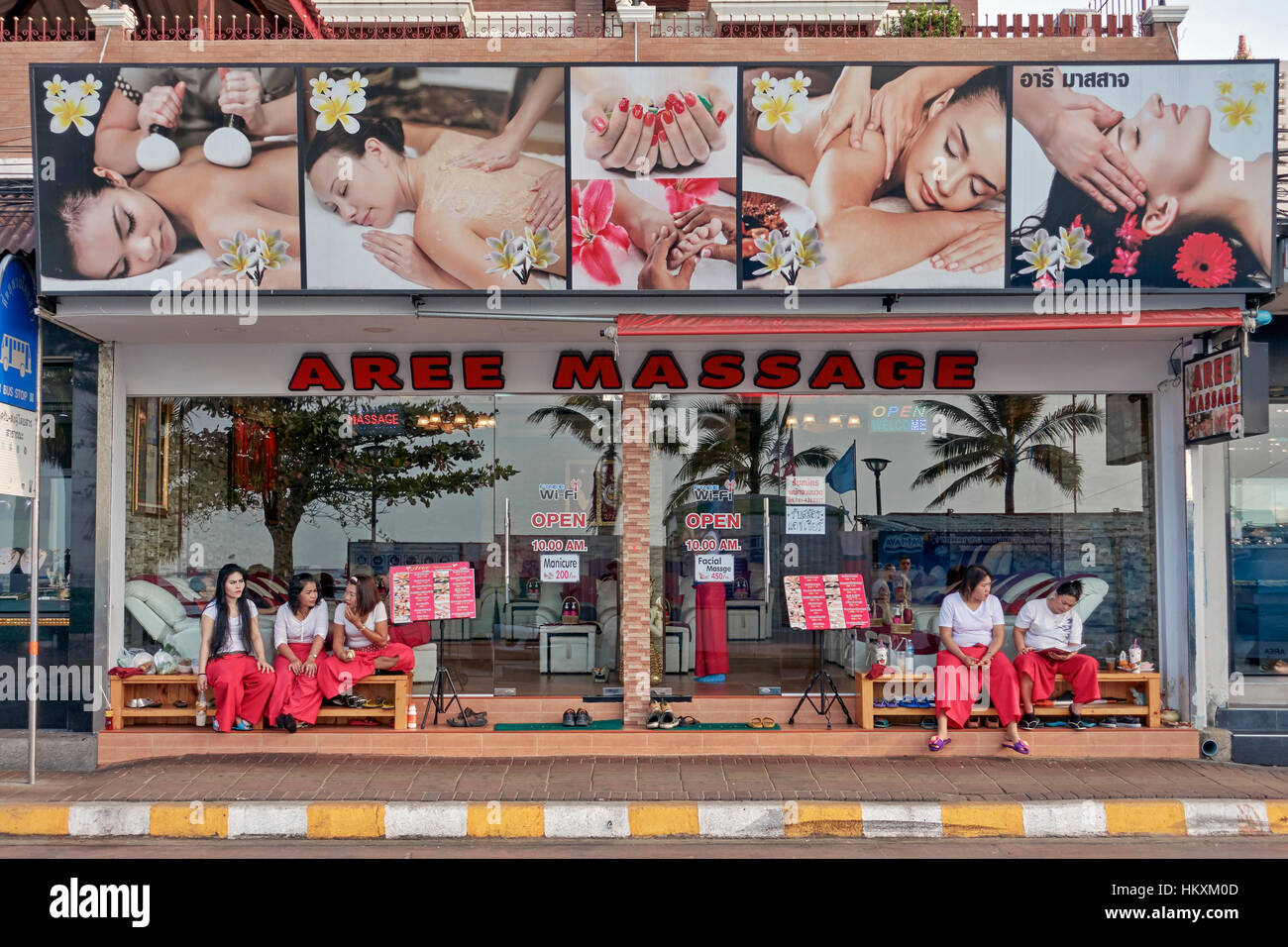 Thailand massage parlour with female masseuse in attendance. Thailand, Southeast Asia, - Stock Image