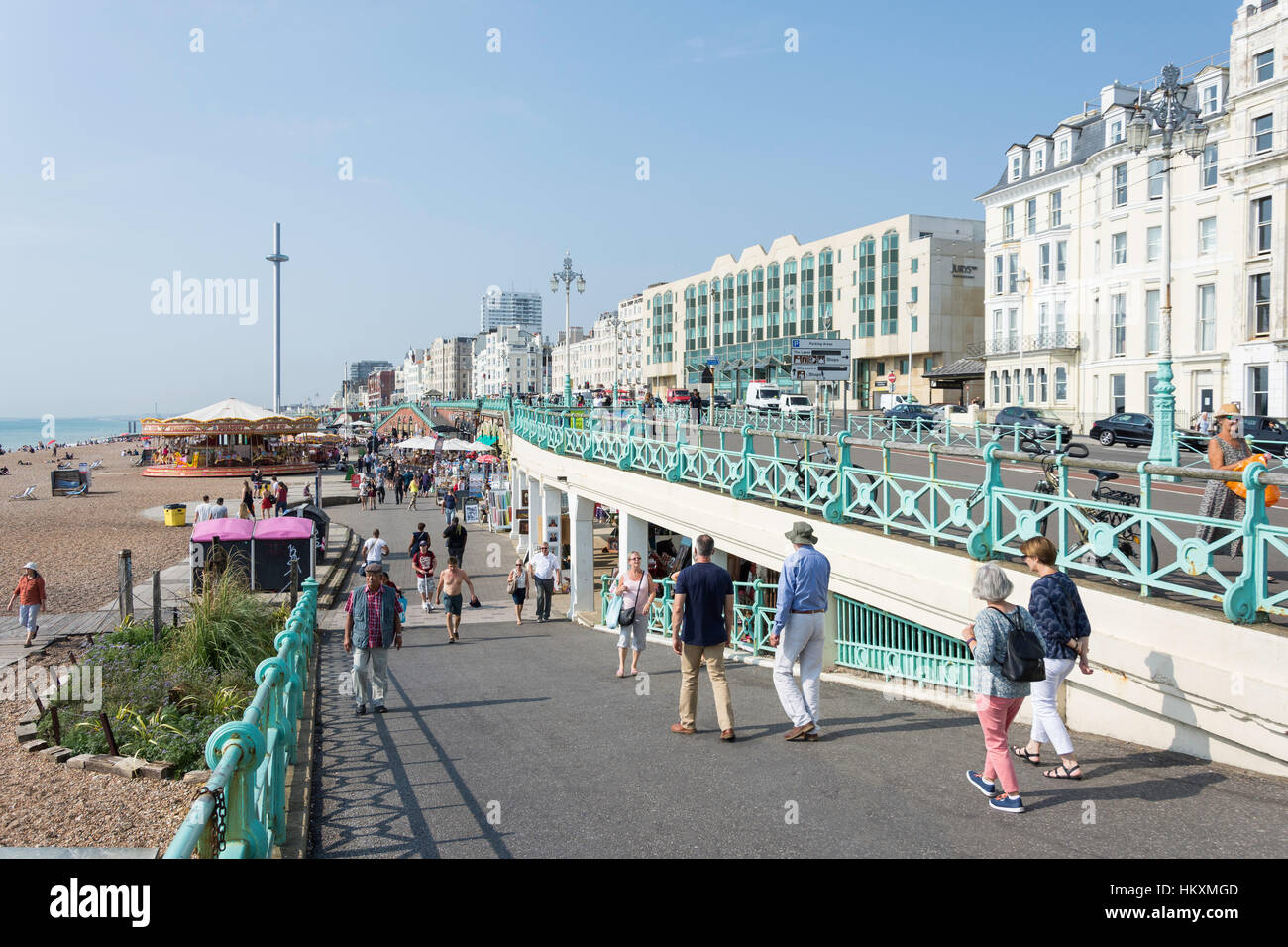 Beach promenade, Kings Road Arches, Brighton, East Sussex, England, United Kingdom Stock Photo