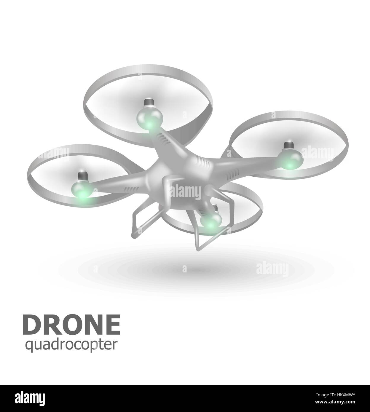 flying drone quadrocopter logo template. Vector illustration - Stock Image