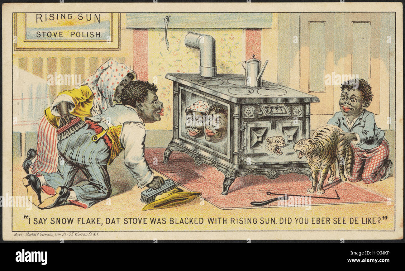 Rising Sun Stove Polish. 'I say Snow Flake, dat stove was blacked with Rising Sun. Did you eber see de like - Stock Image