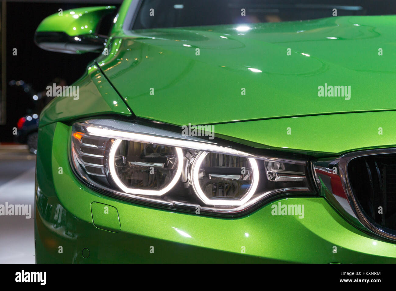 Amsterdam April 16 2015 Front Headlight Of The Bmw M3 At The Stock Photo Alamy