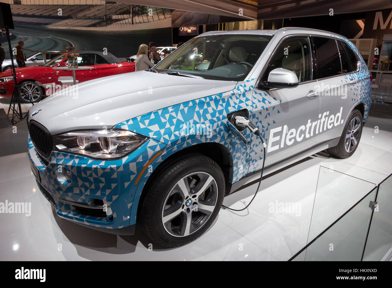 AMSTERDAM - APRIL 16, 2015: BMW X5 PHEV on display at the Amsterdam AutoRAI Motor Show. - Stock Image
