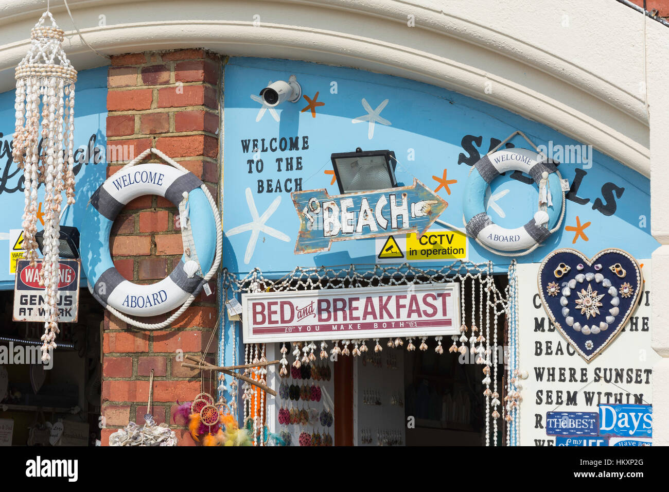 Entrance to souvenir shell shop, Kings Road Arches, Brighton, East Sussex, England, United Kingdom Stock Photo