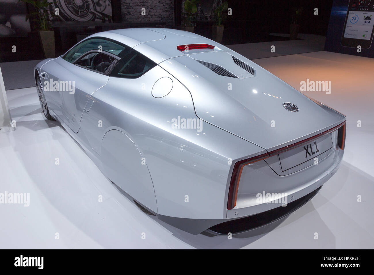 AMSTERDAM - APRIL 16, 2015: Volkswagen XL1 car at the AutoRAI 2015. The XL1 is a two-person limited production diesel - Stock Image