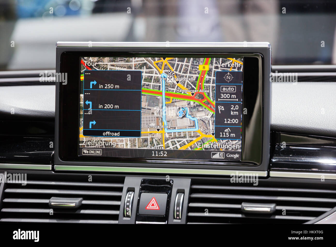 FRANKFURT, GERMANY - SEP 16, 2015: Car navigation in the Audi RS7 shown at the IAA 2015. - Stock Image