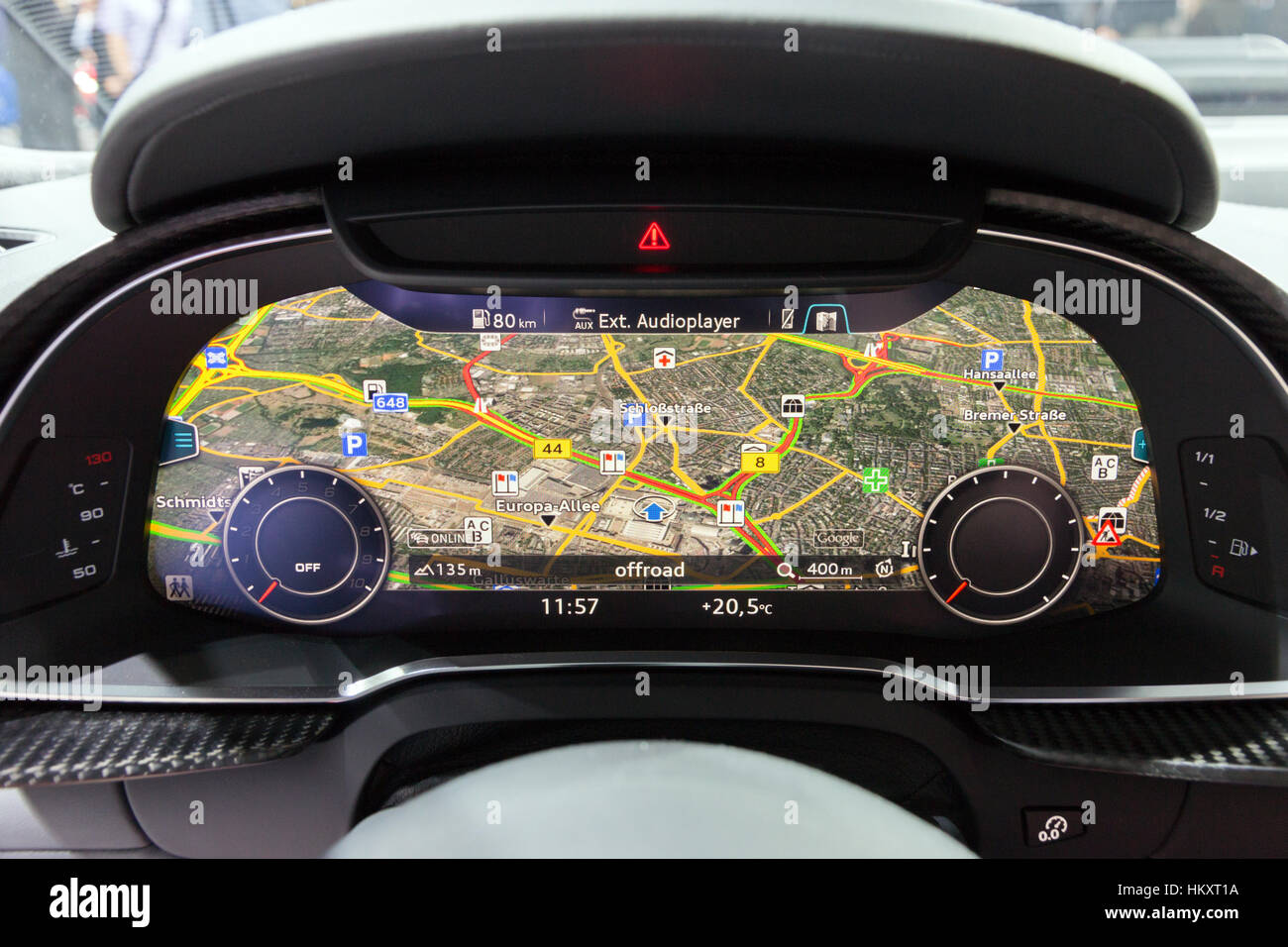 FRANKFURT, GERMANY - SEP 16, 2015: Dashboard close up of the Audi R8 V10 Plus presented at the IAA 2015. - Stock Image
