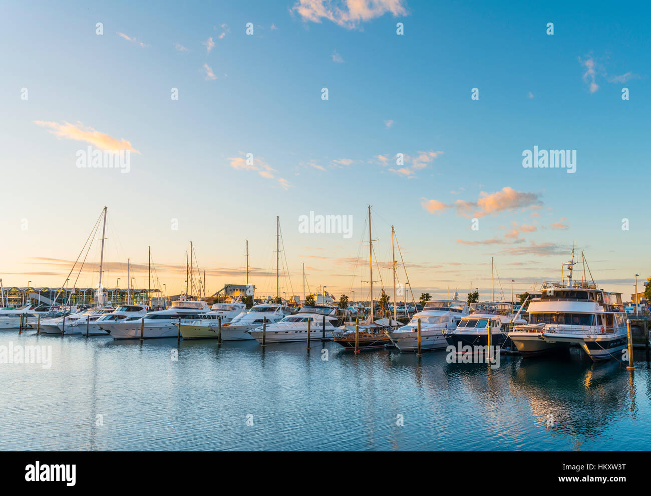 Sunset, sailboats and yachts, Waitemata Harbour, Auckland Region, North Island, New Zealand - Stock Image