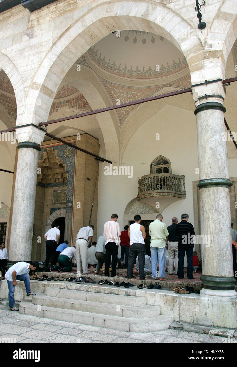 Jew Detector: Muslims Pray Outside Mosque In Stock Photos & Muslims Pray
