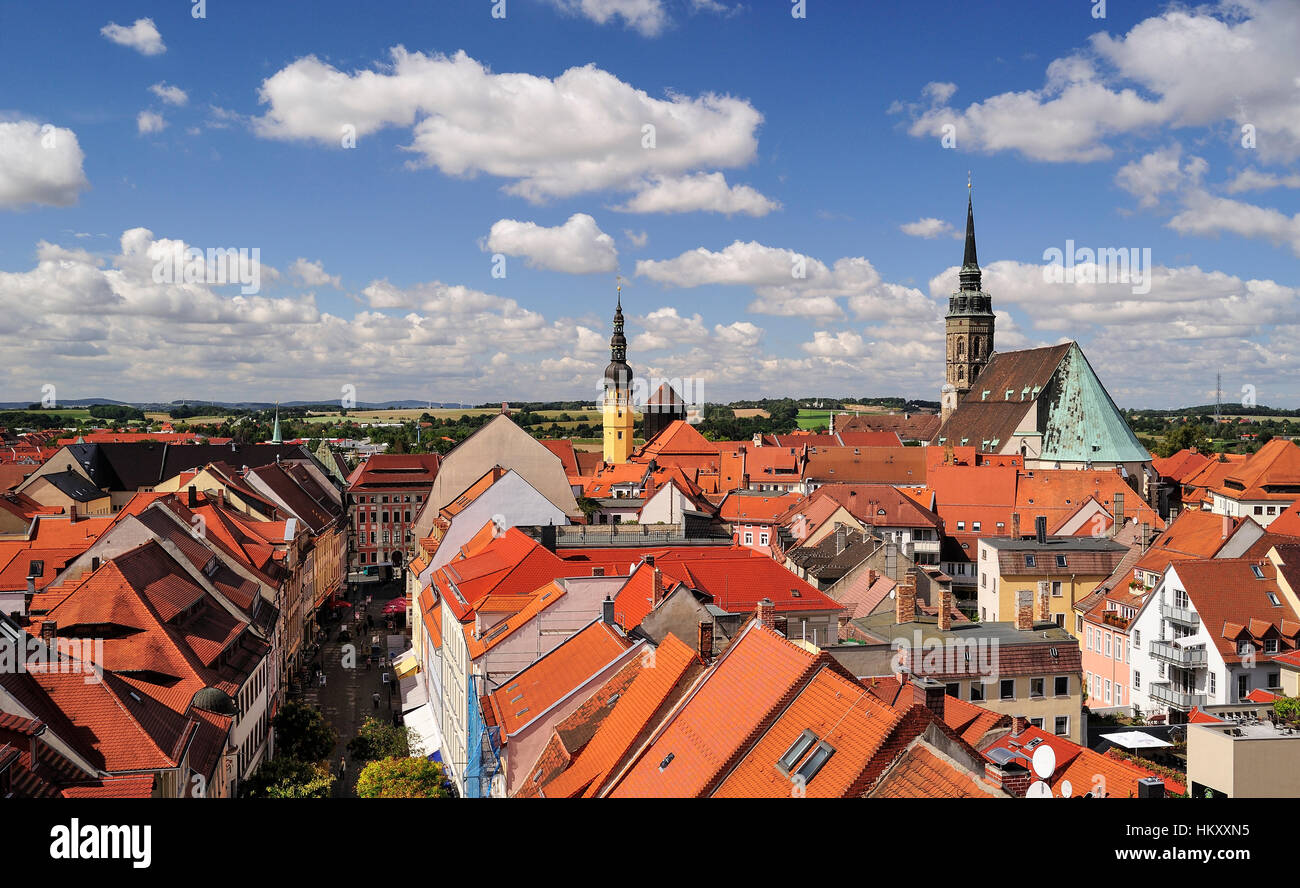 View from Reichenturm onto old town, Reichenstraße, town hall tower, St. Peter's Cathedral, Bautzen, Saxony, - Stock Image