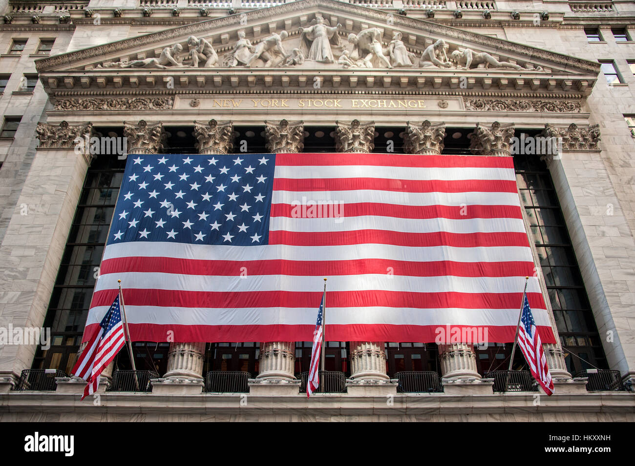 American flags on New York Stock Exchange, Stock Exchange, Wall Street, Manhattan, New York City, United States - Stock Image