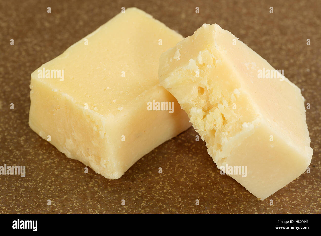 asian confectionery two pieces of plain barfi - Stock Image