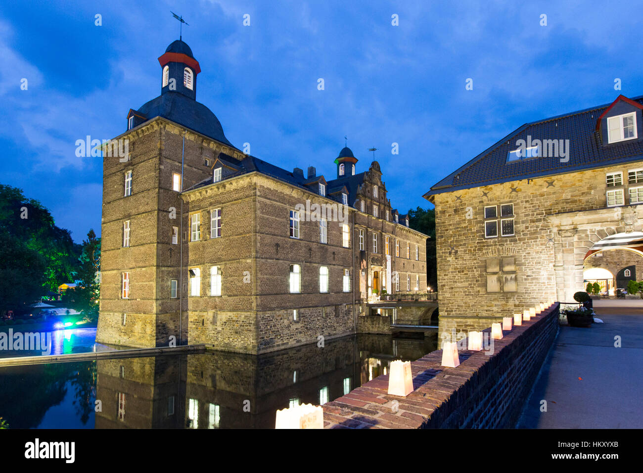 Castle Hugenpoet, Essen-Kettwig, hotel and restaurant, water castle, - Stock Image