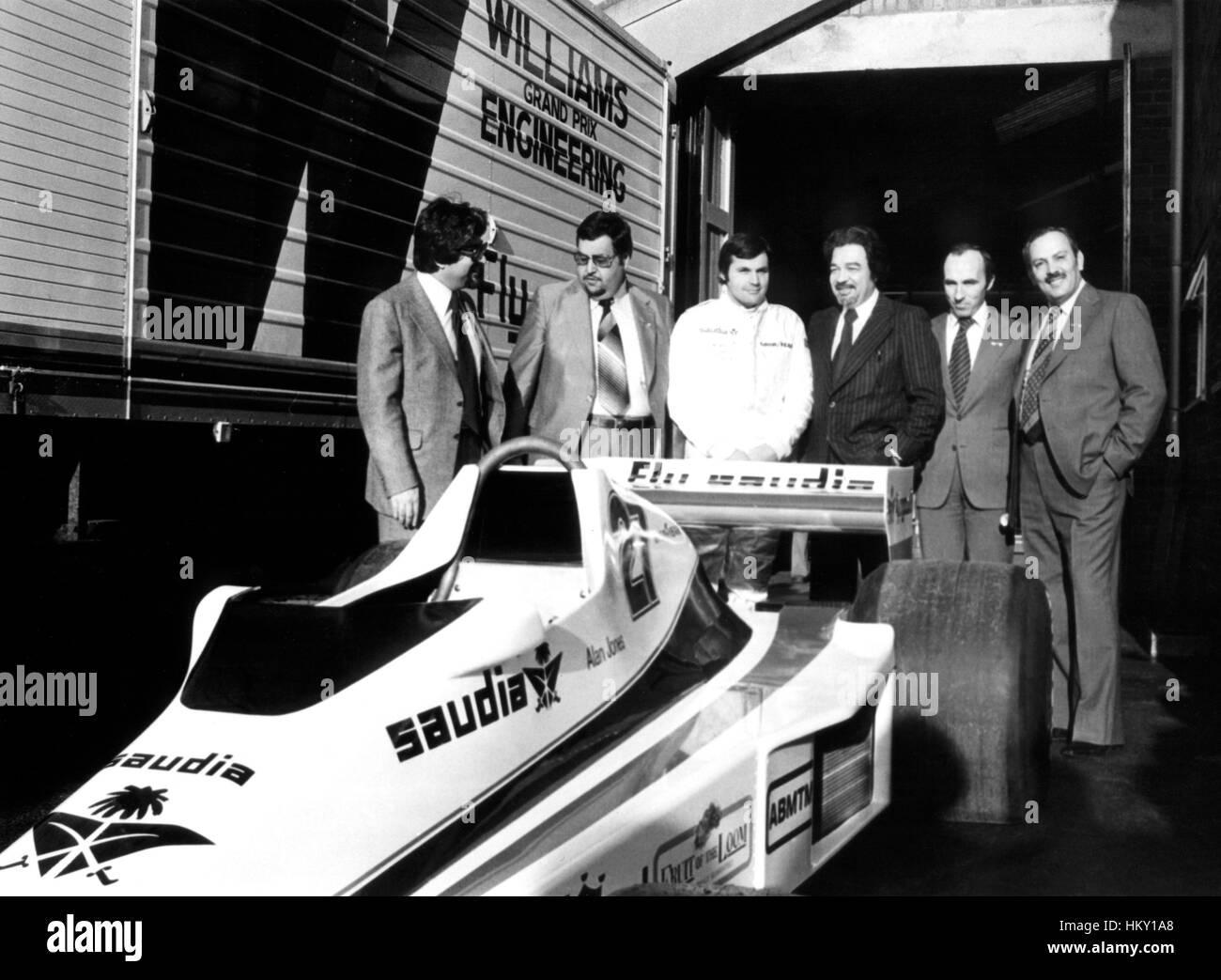 1979 Frank Williams GB Alan Jones Australian Arab Sponsors Presentation FL Stock Photo