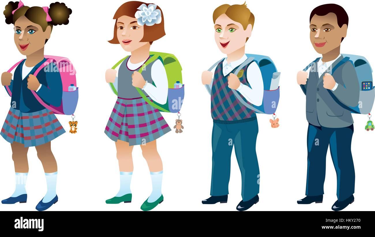 Set of schoolchildren - Stock Vector