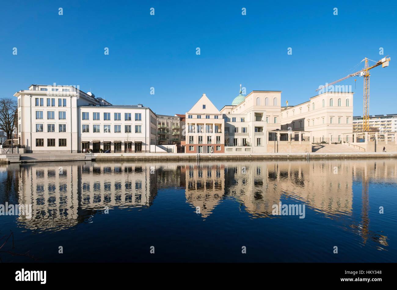 New property development and Museum Barberini on right at Otto Braun Platz Potsdam Germany - Stock Image