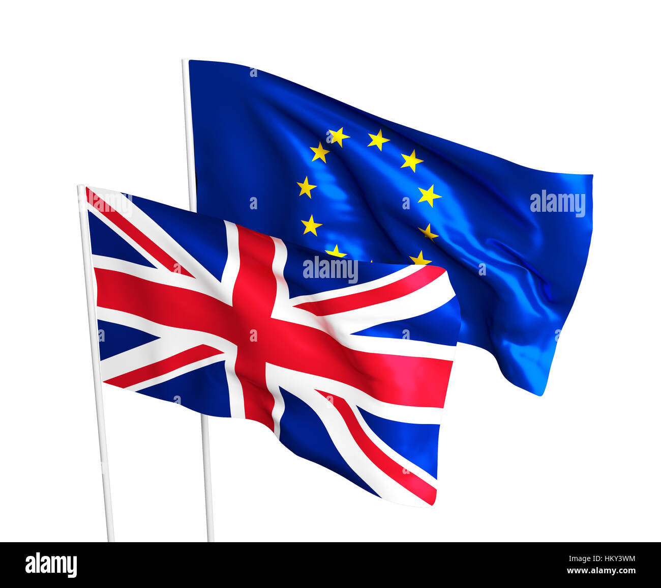 Flags of the United Kingdom and the European Union. Brexit referendum. British leaves EU. Flag isolated on the white - Stock Image