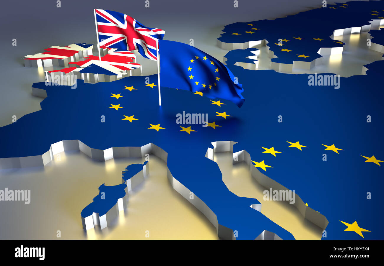 Map of europe with the national flag. Brexit referendum UK - United Kingdom, Great Britain or England leaving EU - Stock Image