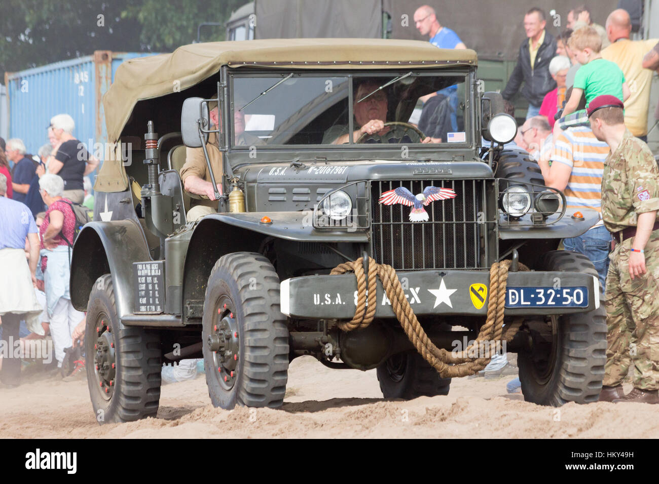 EDE, NETHERLANDS - SEP 20, 2014: Dodge WC-56 Command Car in a parade during the Market Garden Memorial. Operation - Stock Image