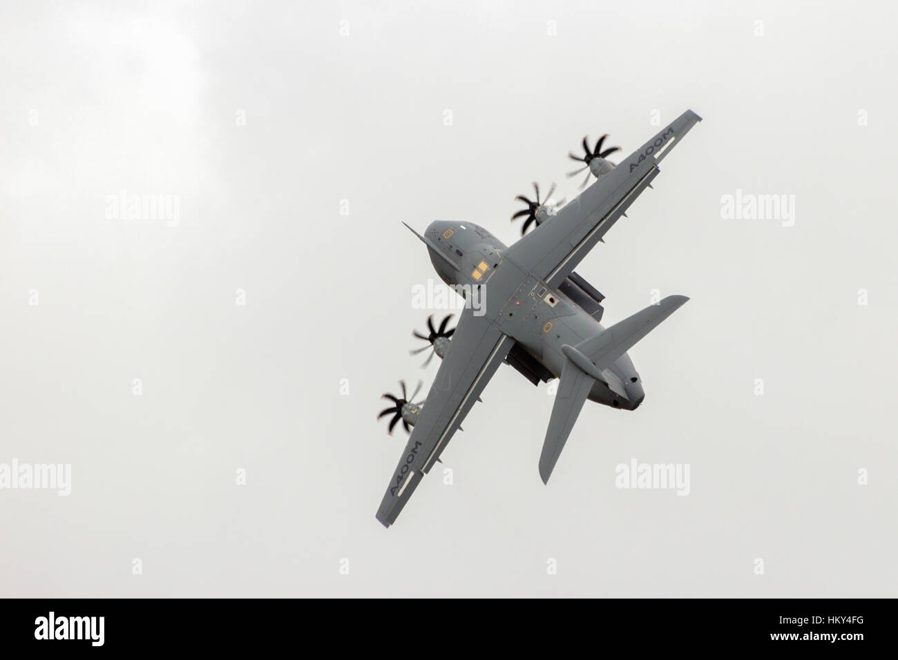 PARIS - JUN 18, 2015: New Airbus A400M military transport plane in a steep take-off. The first A400M was delivered - Stock Image