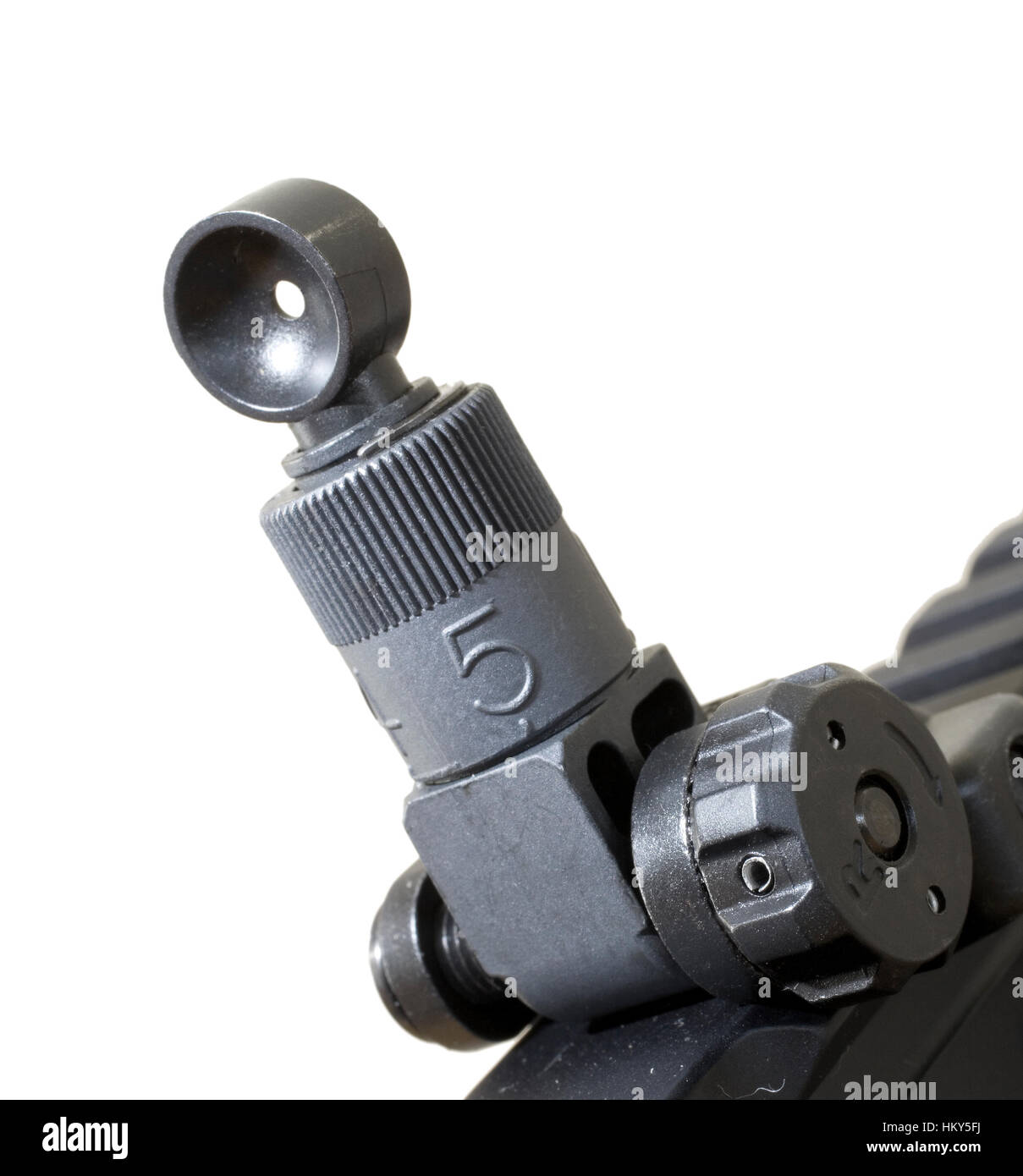 Sight on the back of an AR 15 that is adjustable for windage - Stock Image