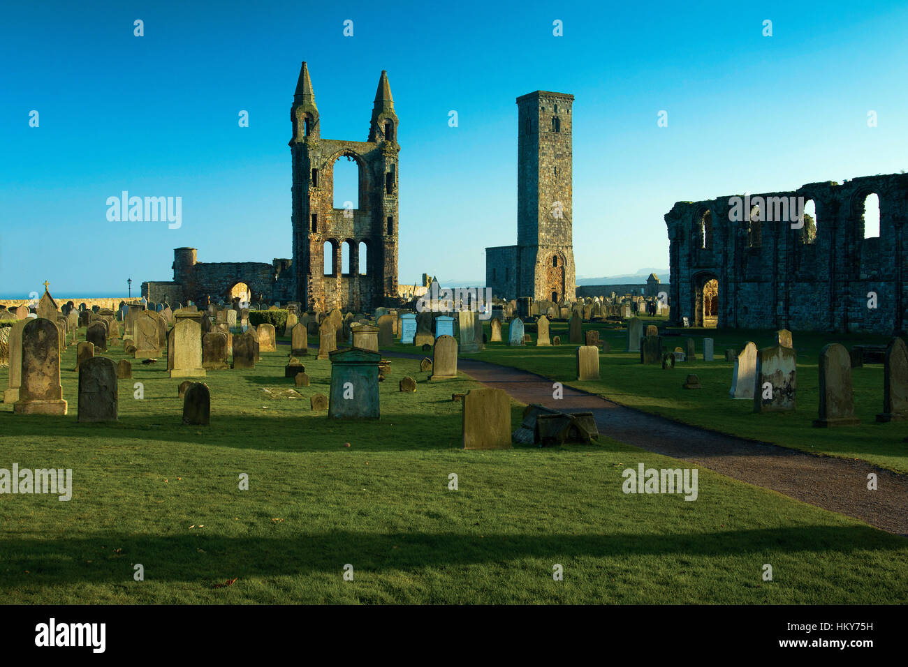 St Andrew's Cathedral and St Rule's Tower, St Andrews, Fife - Stock Image