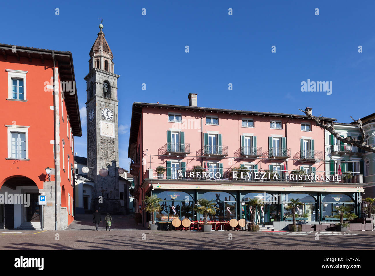 Lakefront with Chiesa Santi Pietro e Paolo (St. Peter and Paul Church). Ascona, Switzerland - Stock Image